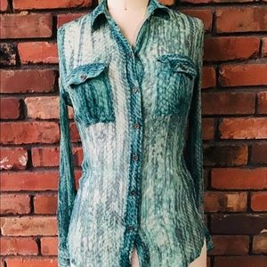 Lucky Brand Teal Green Blouse Extra Small